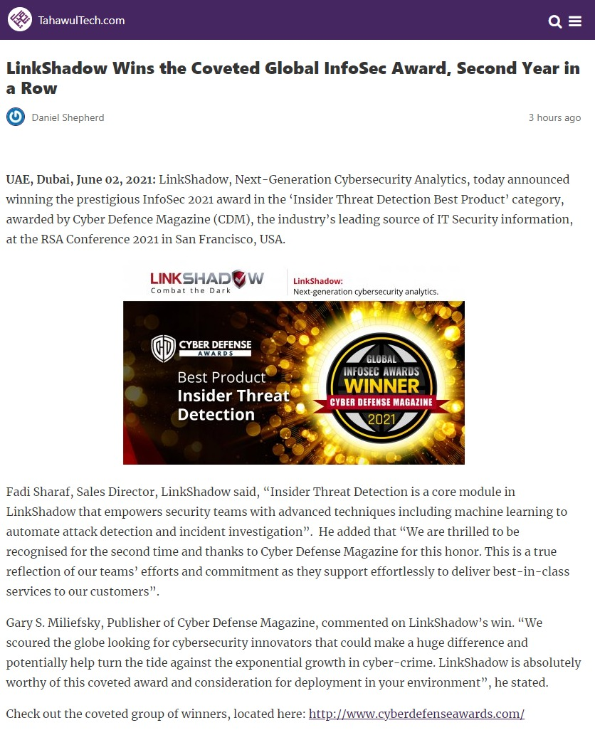 LinkShadow Wins the Coveted Global InfoSec Award, Second Year in a Row
