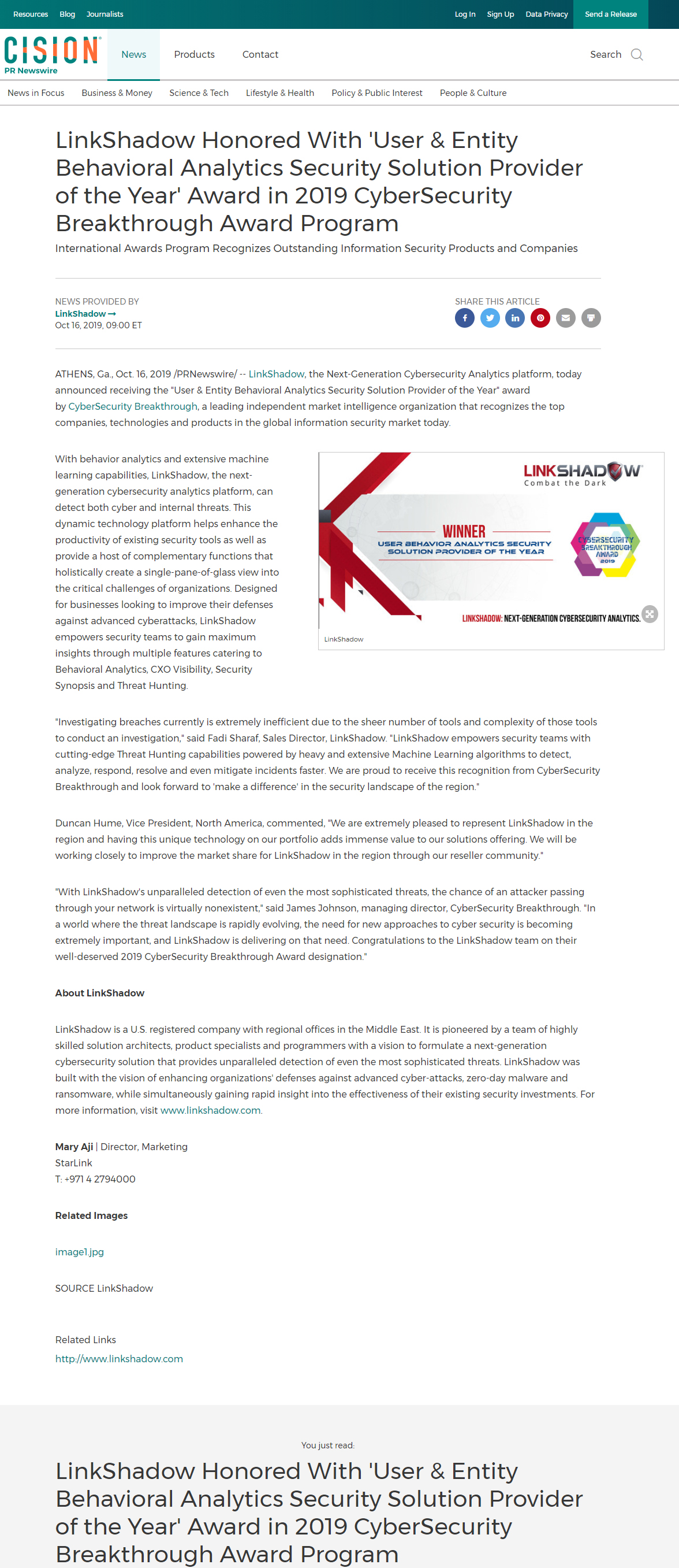 """LinkShadow Honored with """"User & Entity Behavioral Analytics Security Solution Provider of the Year"""" Award in 2019 CyberSecurity Breakthrough Award Program"""